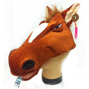 Plush Horse Head Hat Party Accessory-Fandomsky