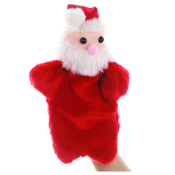 Christmas Soft Plush Cute Cartoon Santa Hand Puppets Moving Mouth Cartoon Puppet