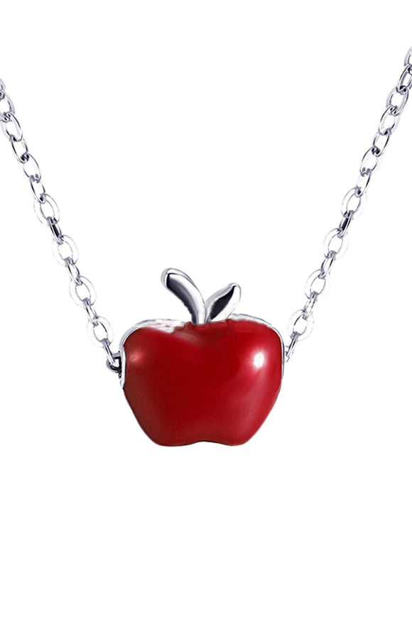 Women Silver Plated Clavicle Necklace Apple Pendant Jewelry-Fandomsky