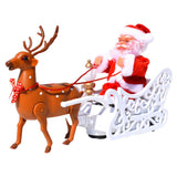 Christmas Electric Santa Claus Music Deer Elk Cart Dolls Creative Cute Christmas Santa Claus Doll Music Toy