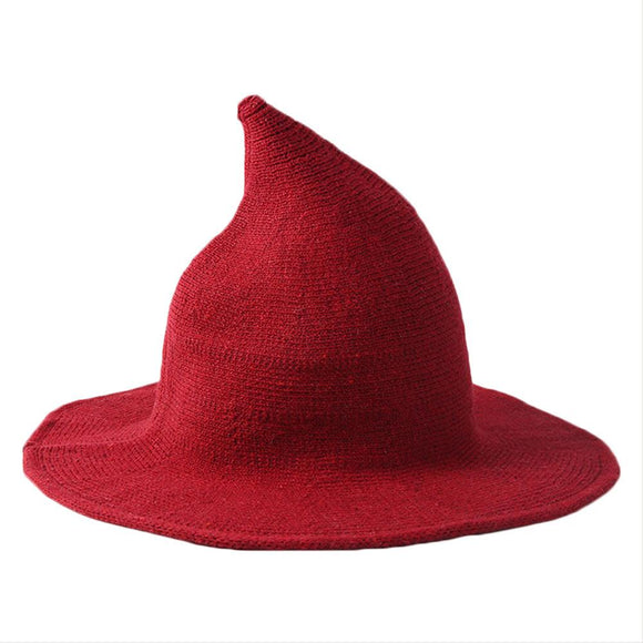 Women Wool Sharp Pointed Witch Hat for Halloween Christmas Costume Party-Fandomsky