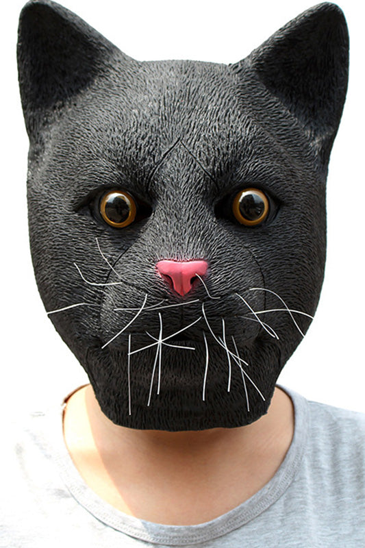 Funny Halloween Cosplay Party Costume Latex Animal Head Mask - Black Cat