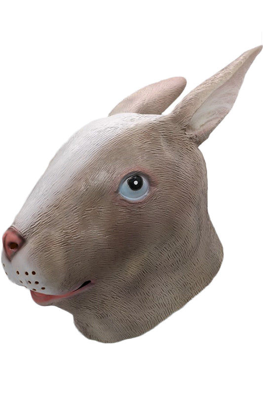 Gray Rabbit Mask Bunny Animal Head Latex Mask Masquerade Halloween Costume Party Fancy Dress Cosplay Prop-Fandomsky
