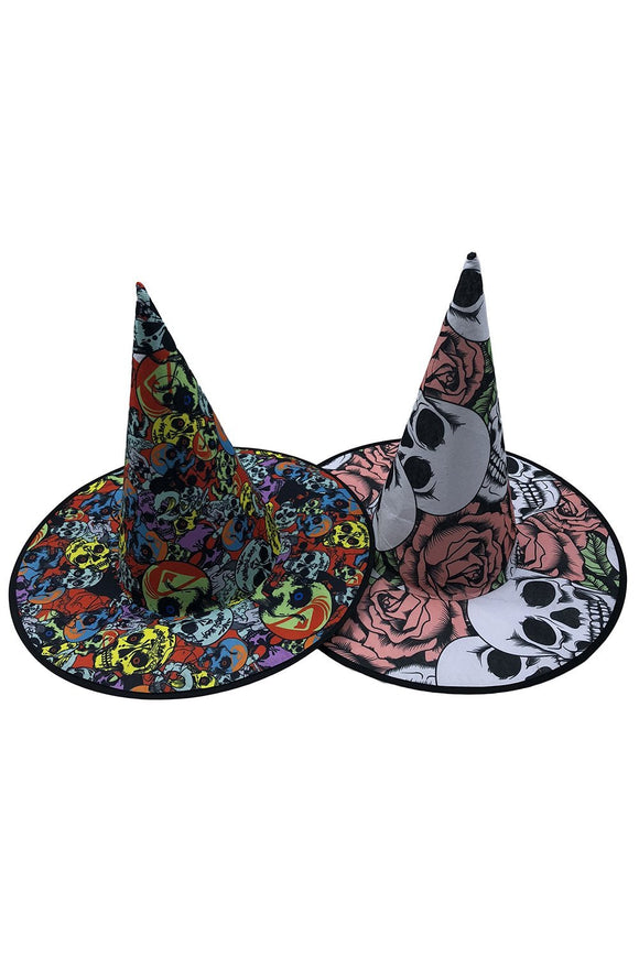Witch Hat with Colorful Skull Pattern Printed for Halloween