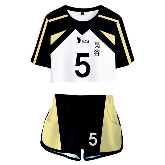 Women Haikyuu!! Akaashi Keiji Cosplay Crop Top & Shorts Set Summer 2 Pieces Casual Clothes