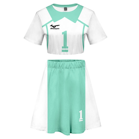 Women Haikyuu!! Oikawa Tooru 2 Pieces Cosplay Outfits Short Sleeves Crop Top + A Line Skirt Sets
