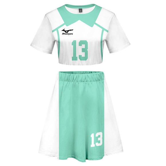 Women Haikyuu!! Kunimi Akira 2 Pieces Cosplay Outfits Short Sleeves Crop Top + A Line Skirt Sets
