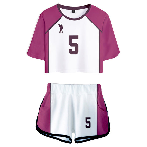 Women Haikyuu!! Tendo Satori Cosplay Crop Top & Shorts Set Summer 2 Pieces Casual Clothes