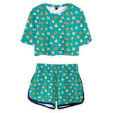 Women Animal Crossing Cosplay Crop Top & Shorts Set Summer 2 Pieces Casual Clothes