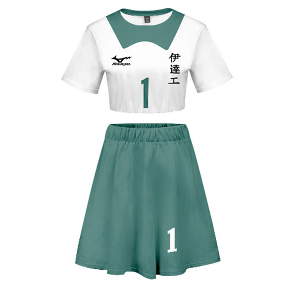Women Haikyuu!! Takanobu Aone 2 Pieces Cosplay Outfits Short Sleeves Crop Top + A Line Skirt Sets