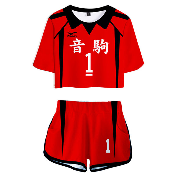 Women Haikyuu!! Kuroo Tetsurou Cosplay Crop Top & Shorts Set Summer 2 Pieces Casual Clothes