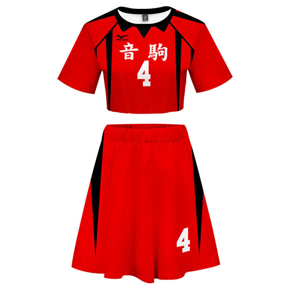 Women Haikyuu!! Taketora Yamamoto 2 Pieces Cosplay Outfits Short Sleeves Crop Top + A Line Skirt Sets