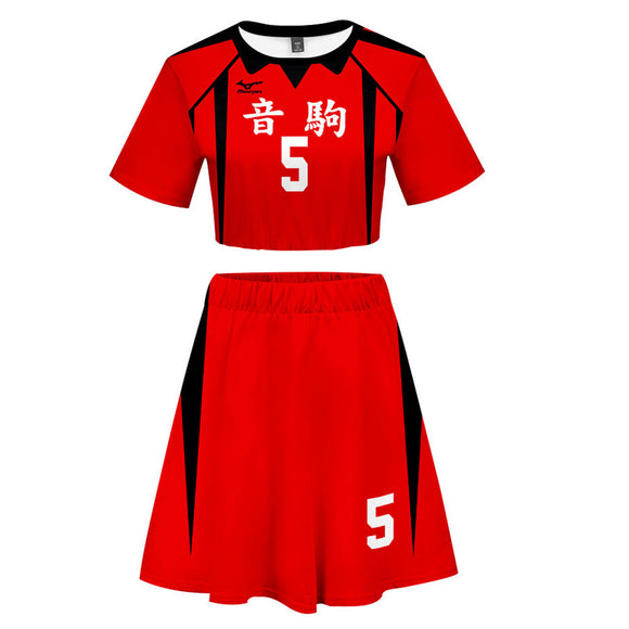 Women Haikyuu!! Kozume Kenma 2 Pieces Cosplay Outfits Short Sleeves Crop Top + A Line Skirt Sets