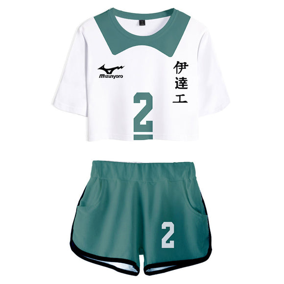 Women Haikyuu!! Kenji Futakuchi Cosplay Crop Top & Shorts Set Summer 2 Pieces Casual Clothes
