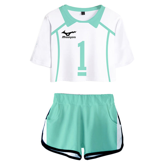 Women Haikyuu!! Oikawa Tooru Cosplay Crop Top & Shorts Set Summer 2 Pieces Casual Clothes