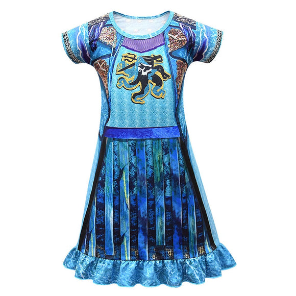 Kids Girls Descendants 2 Uma Cosplay Dress Halloween Carnival Costume Dress Up