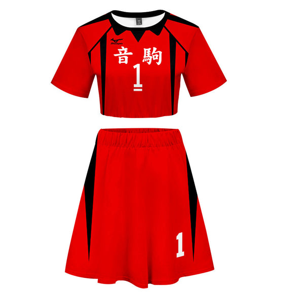 Women Haikyuu!! Kuroo Tetsurou 2 Pieces Cosplay Outfits Short Sleeves Crop Top + A Line Skirt Sets