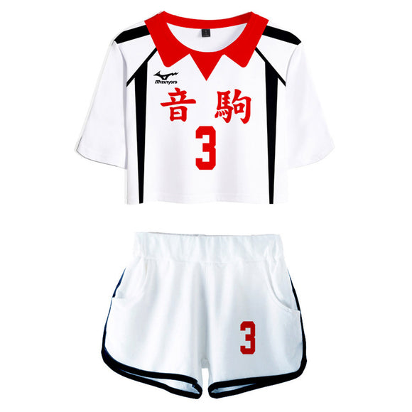 Women Haikyuu!! Yaku Morisuke Cosplay Crop Top & Shorts Set Summer 2 Pieces Casual Clothes