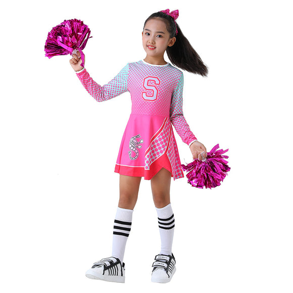 Kids Girls Z-O-M-B-I-E-S ZOMBIES 2 Cosplay Dress Addison Cheerleader Costume Halloween Party Holiday Clothing