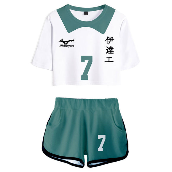 Women Haikyuu!! Aone Takanobu Cosplay Crop Top & Shorts Set Summer 2 Pieces Casual Clothes