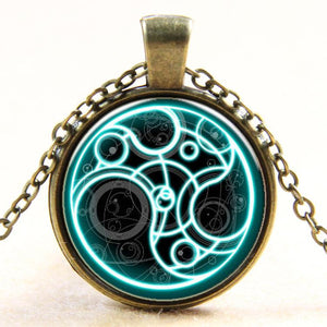 Doctor Who Pendant Chain Necklace Blue Line Time Glass