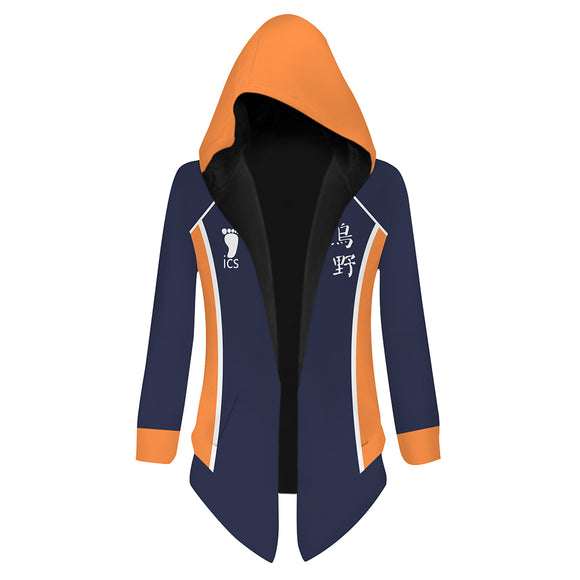 Unisex Haikyuu!! Hooded Coat Hinata Shoyo Cosplay Outwear Wind Jacket