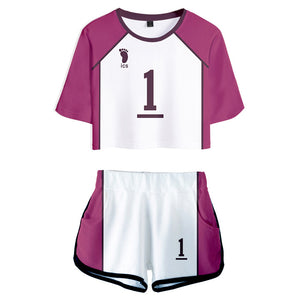 Women Haikyuu!! Ushijima Wakatoshi Cosplay Crop Top & Shorts Set Summer 2 Pieces Casual Clothes