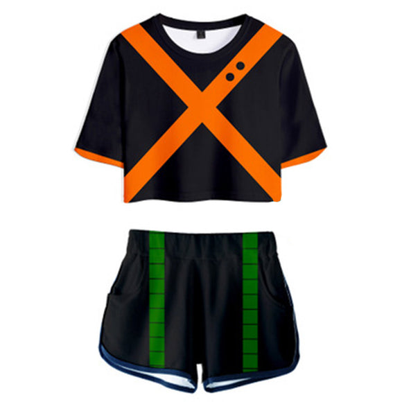 Women My Hero Academia Crop Top Sets Bakugou Katsuki Cosplay Short Sleeve T-shirt Shorts 2 Pieces Sets Casual Clothes