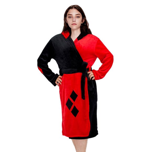 Unisex Suicide Squad Harley Quinn Cosplay Bathrobe Sleepwear Casual Black Red Knee Length Robe Pajamas