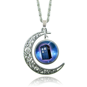 Doctor Who Moon Police Box Necklace Gift