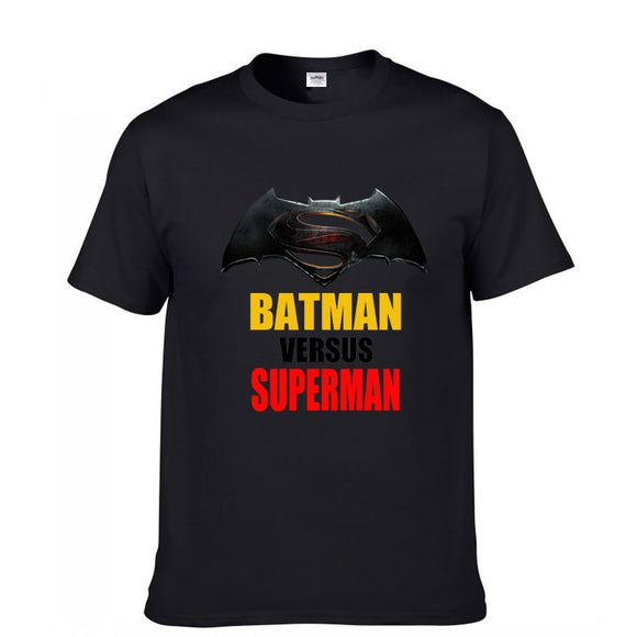 Batman Versus Superman Short Sleeve Casual T-Shirt Black And White-Fandomsky