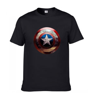 Avengers Captain America Sheild Short Sleeve Casual T-Shirt Black And White-Fandomsky