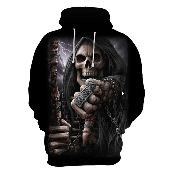 New 3D Digital Print Skeleton Sweaters Hoodie Hooded Sweatshirts-Fandomsky