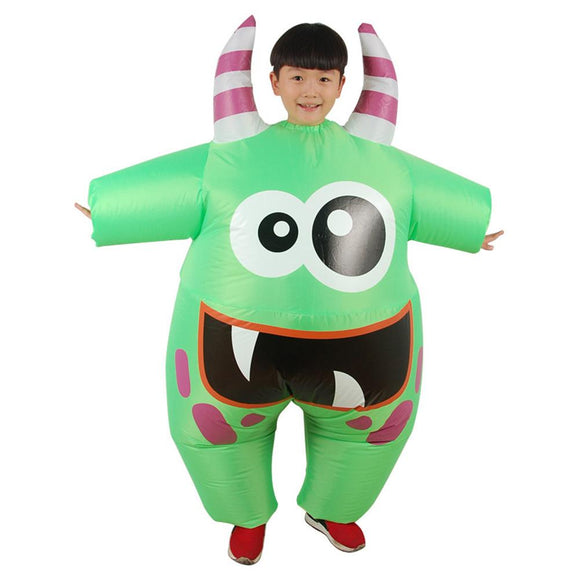 Kids Inflatable Green Monster Costume Funny Big Mouth Scareblown Halloween Party Costumes
