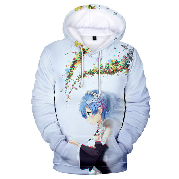 Unisex Re:Life in a different world from zero Hoodie Rem Printed Cosplay Hooded Pullover Sweatshirt