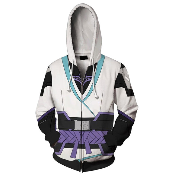 Unisex Sage Cosplay Hoodies Valorant Zip Up 3D Print Jacket Sweatshirt