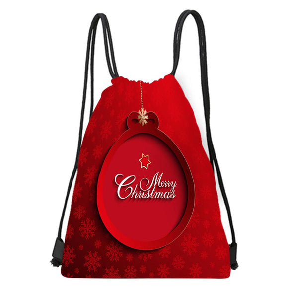 Christmas Candy Bag Satchel Rucksack Bundle Pocket Drawstring Storage Bag Denim String Drawstring Bag