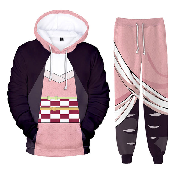 Unisex Demon Slayer: Kimetsu no Yaiba Hoodie Pants Set Kamado Nezuko Cosplay Costume 3D Print Sweatshirt Outfits