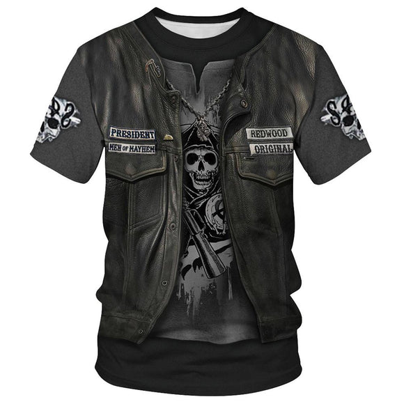 Skeleton Pirates T-Shirt Viking Skulls Tee Shirt-Fandomsky