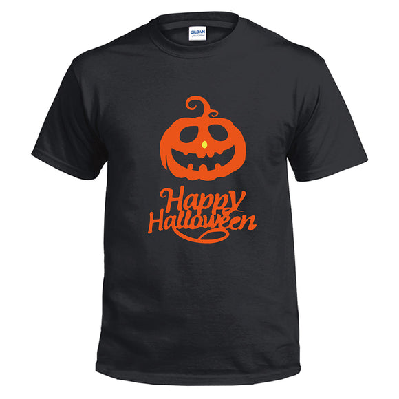 Unisex Halloween Pumpkin Face Light Printed Short Sleeve T-shirt