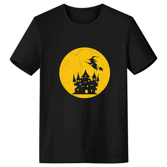 Unisex Adult T-shirt Halloween Witch Castle Full Moon Printed Short Sleeve T-shirt