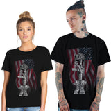 Lover's T-Shirts Graphic Tees Independent Day American Flag Printed Blouse Slim Fit Workut Shirt-Fandomsky