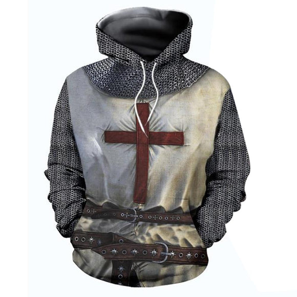 Men's Medieval Armor Hoodie Knights Templar Pullover Sweatshirt Retro Long Sleeve Crusader Cross Printed Tops-Fandomsky