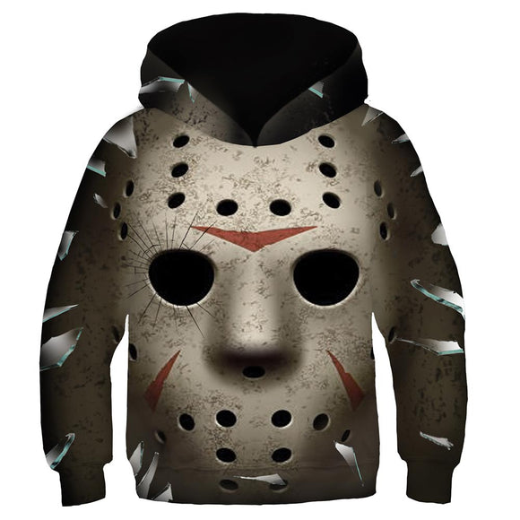 Kids Friday the 13th Jason Voorhees Cosplay Hoodies Boys Girls Long Sleeve Casual Pullover Sweatshirt
