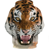 Unisex Men Women Sweatshirt 3D Digital Printing Tiger Hoodie Pullover with Pockets-Fandomsky