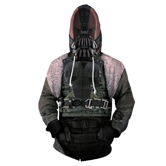 Unisex Batman Hoodies 3D Print Zip Up Sweatshirt Outfit Bane Cosplay Casual Outerwear