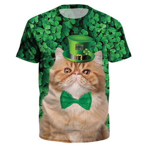 St. Patrick's Day Clover Printed Short Sleeved O-Neck T-Shirt Tops-Fandomsky