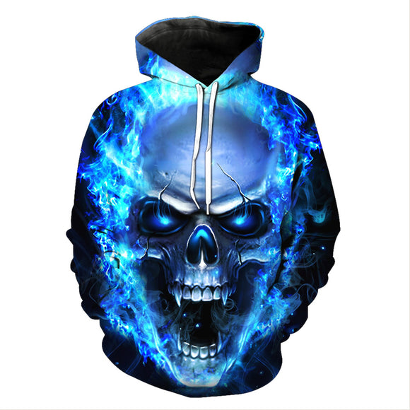 Unisex 3D Print Halloween Blue Skeleton Hoodie Hooded Shirt