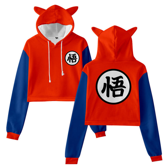 Women Dragon Ball Cat Ear Drawstring Hoodies Son Goku Cosplay Pullover Crop Tops