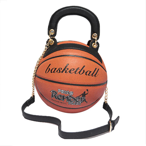 Basketball Shaped Handbags Messenger Bag Women Girls Crossbody Bag PU Leather Cute Adjustable Strap Shoulder Bag
